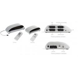 Transmisor inálambrico de audio/vídeo y mandos a distancia para 4 equipos