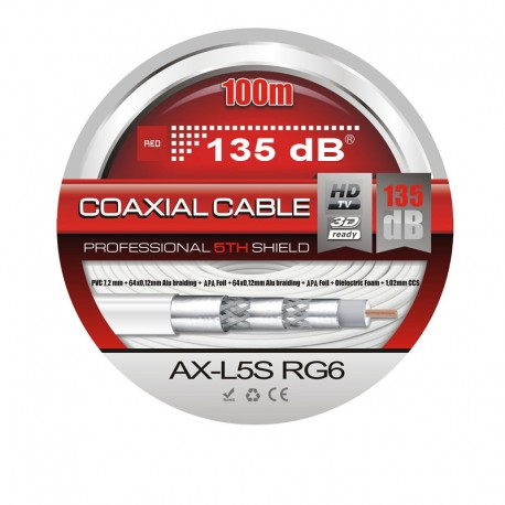 CABLE COAXIAL Profesional 135 Db´s - 100 METROS