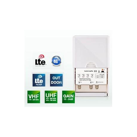 Amplificador Triple de Mástil LTE + Fuente de Alimentación