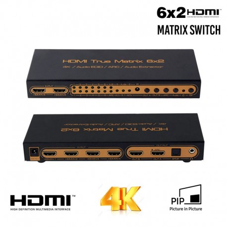 HDMI Matriz 6x2 4K